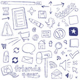 Web Doodles. Web icons drawn in a doodled style Royalty Free Stock Photography