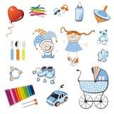 Web dos ícones do bebê Fotos de Stock