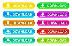 Web download buttons colors vector illustration