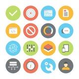 Web e ícones lisos de UI ajustados ilustração do vetor