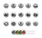 Web e ícones móveis 3 séries redondas do metal de // Fotos de Stock Royalty Free