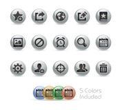 Web e ícones móveis 2 séries redondas do metal de // Foto de Stock