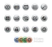 Web e ícones móveis 4 séries redondas do metal de // Foto de Stock Royalty Free