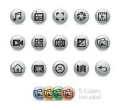 Web e ícones móveis 5 séries redondas do metal de // Foto de Stock