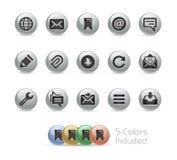 Web e ícones móveis 9 séries redondas do metal de // Fotos de Stock Royalty Free