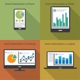 Web e conceito da analítica de SEO - ilustração Fotos de Stock Royalty Free