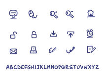 Web e ícones escritos à mão do escritório Foto de Stock