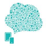 Web e fondo astratto delle icone di media del sociale illustrazione vettoriale