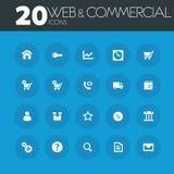 Web e iconos comerciales en los botones azules redondos stock de ilustración
