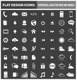 Web e iconos planos móviles del diseño, elementos Imagenes de archivo