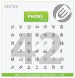 Web e iconos universales del esquema del teléfono Imagen de archivo libre de regalías