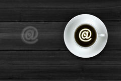 Web e-mail @. Coffee people pass the idea of coffee.People send messages to each other Royalty Free Stock Image