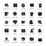 Web e Seo Glyph Vetora Icons Set Imagens de Stock