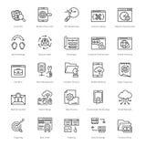 Web e SEO Line Vector Icons 46 Immagini Stock