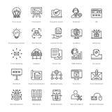 Web e SEO Line Vector Icons 50 Fotografie Stock Libere da Diritti