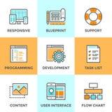 A Web e UI desenvolvem a linha ícones ajustados Imagens de Stock Royalty Free