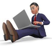 Web ed uomini d'affari di Typing Means World dell'uomo d'affari ampio Fotografia Stock