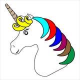 web Ejemplo exhausto de la mano del vector de la cabeza del unicornio con el collar de la estrella y el pelo del arco iris aislad ilustración del vector