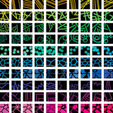 Web elements. Collection of hundred abstract geometric web square icons with colorful background Royalty Free Stock Image