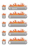 Web elements fire. Illustration with a set of elements of interfaces decorated with fire Stock Photography