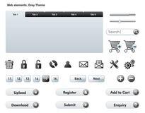 Web Elements - Grey Theme Stock Photo