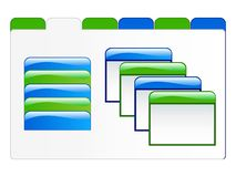 Web Elements Illustration. Of folder with blank tabs of blue and green, and white tab selection with sub-folders Stock Photography