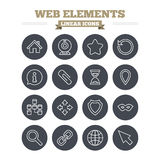 Web elements linear icons set. Thin outline signs Royalty Free Stock Images