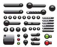 Web elements set black buttons Stock Photo