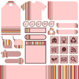 Web elements with stripes Royalty Free Stock Images
