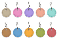 Web elemets. Colorful leather labels like Christmas balls. Vector illustration stock illustration