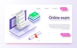 Web em linha app do computador do exame Portátil isométrico com impressão do original de papel da tela ilustração royalty free