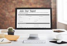 Web em linha Job Application Form Concept Fotografia de Stock Royalty Free