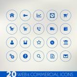 Web en commerciële blauwe pictogrammen op lichte achtergrond Stock Foto's