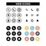 Web en Contact geplaatste pictogrammen Vector illustratie stock illustratie