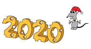 Web2020 en forma del queso con el car?cter hambriento A?o de la rata Ilustraci?n aislada libre illustration