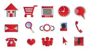 Web en glanzende rode pictogrammen en de knopen van verschillende media Stock Afbeeldingen