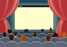 Web en línea del concepto de la plantilla del teatro del reloj del cine stock de ilustración