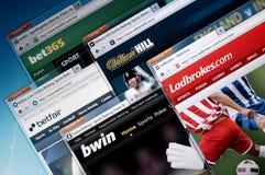 Web en ligne pariant des sites Image stock