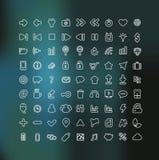 Web en Mobiel pictogram dat in wit overzicht wordt geplaatst Stock Afbeeldingen