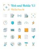 Web en mobiele pictogrammen geplaatst vlakke lijnstijl Royalty-vrije Stock Fotografie