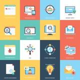 Web en Seo Flat Design Vector Icons royalty-vrije illustratie
