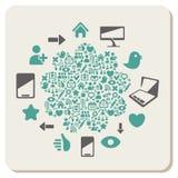 Web en sociale media pictogrammen abstracte achtergrond royalty-vrije illustratie