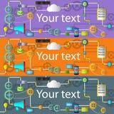 Web en toepassingsontwikkelingsbanner met pictogrammen Stock Afbeeldingen