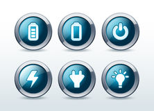 Web energy button icon set  illustration Royalty Free Stock Image