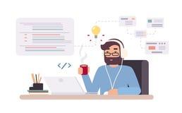 Web-Entwickler arbeitet an Laptop Horizontale Fahne mit jungem Programmierer auf Job Bunte Vektorillustration in der Ebene lizenzfreie abbildung
