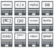Web-Entwicklungs-Ikone, Satz auf Laptopschirm Lizenzfreie Stockfotos