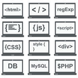 Web-Entwicklungs-Ikone, Satz auf Laptopschirm Stockbild
