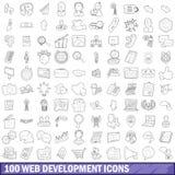100 Web-Entwicklungs-Ikonen eingestellt, Entwurfsart Lizenzfreie Stockbilder