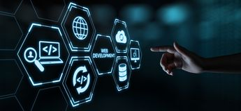 Web-Entwicklungs-Kodierungs-Programmierungsinternet-Technologie-Geschäftskonzept stockbilder