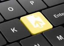 Web-Entwicklungs-Konzept: Antriebskraft auf Computertastaturhintergrund Lizenzfreies Stockbild